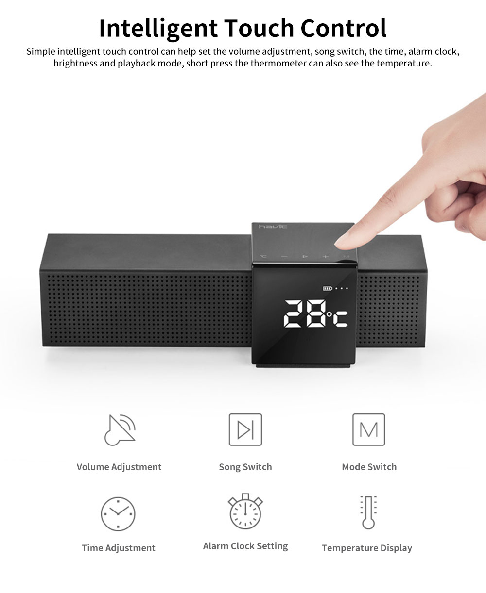 Metal Material Bluetooth Speakers with Alarm Clock Sound Rechargeable Acoustics Intelligent Display Loudspeaker Box Rich Bass Sound Box 1