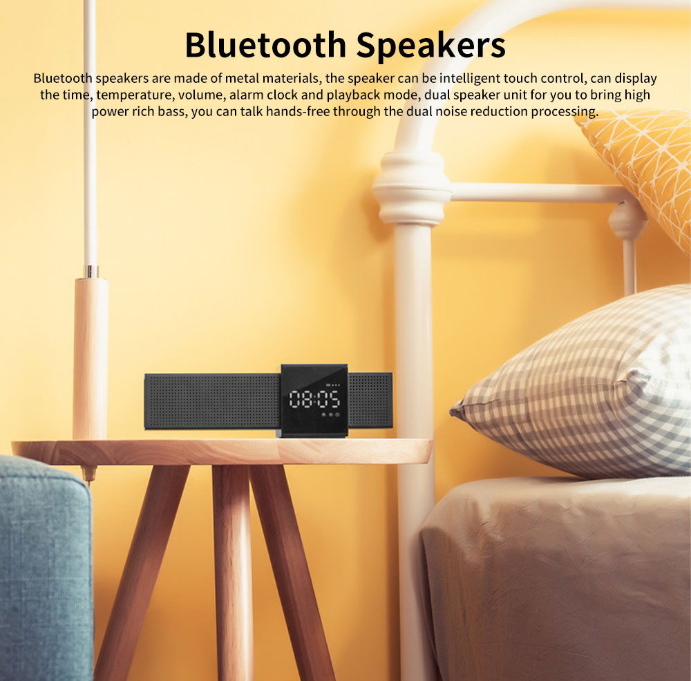Metal Material Bluetooth Speakers with Alarm Clock Sound Rechargeable Acoustics Intelligent Display Loudspeaker Box Rich Bass Sound Box 0