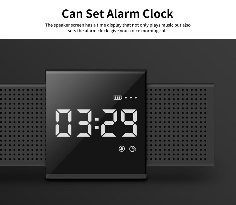 Metal Material Bluetooth Speakers with Alarm Clock Sound Rechargeable Acoustics Intelligent Display Loudspeaker Box Rich Bass Sound Box 3