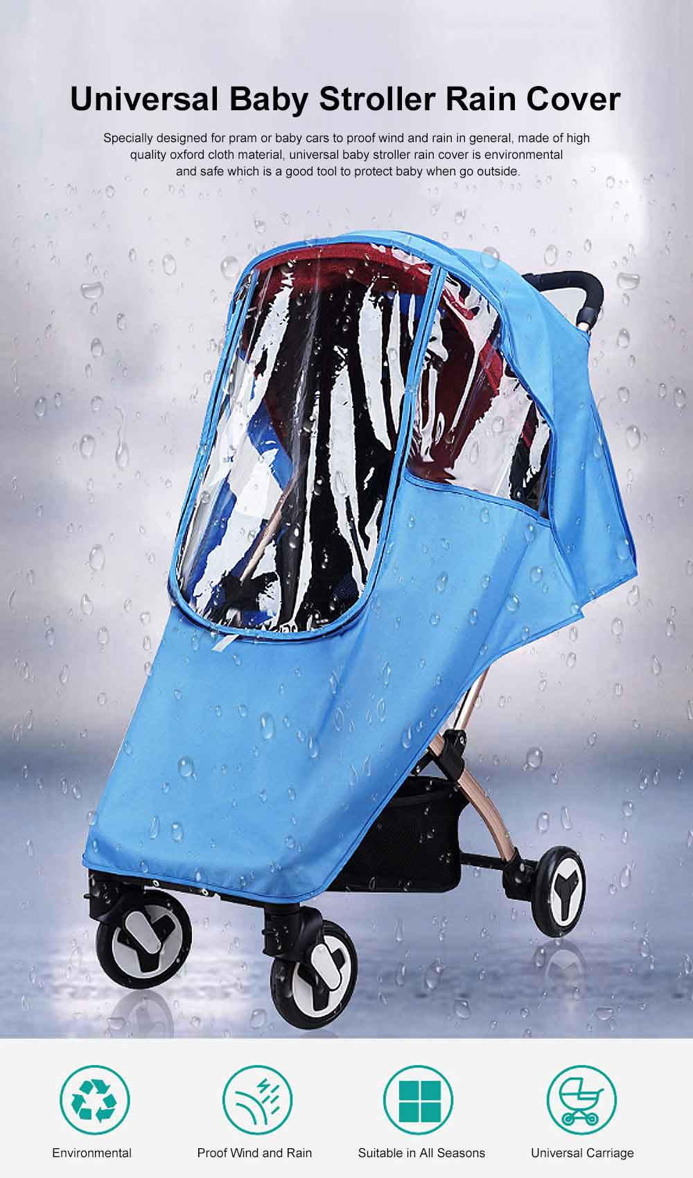 Universal Baby Stroller Rain Cover, Baby Carriage Transparent Raincoat, Umbrella Car Breathable & Heat Shield Cover for Anti Rain & Wind 0