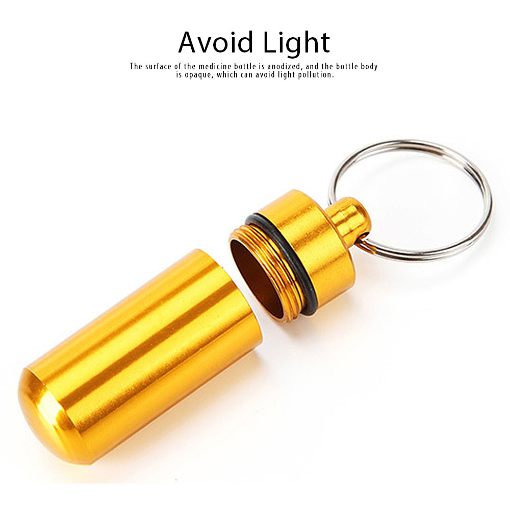 Mini Medicine Bottle Aluminium Alloy Portable Outdoor Waterproof Durable Pill Box Key Ring First Aid Pill Bottle 2