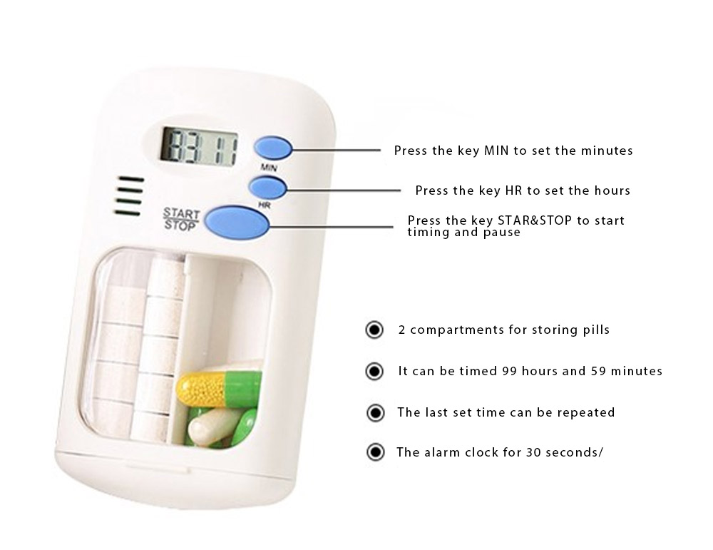 Intelligent Electronic Medicine Box Abs & PP Pill Box Alarm Clock Reminder Compartments Box Tablet Portable Pill Carrier 6