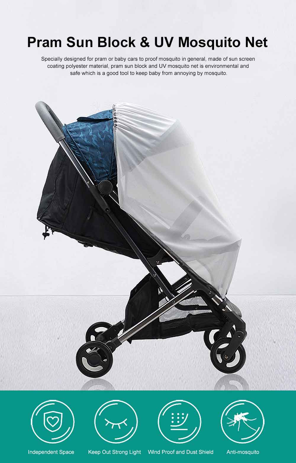 Baby Stroller Sunscreen Anti-uv Mosquito Net Baby Car Mosquito Net Cover Children's Trolley Easy Installation 8