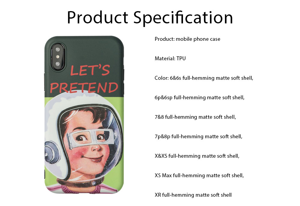Mobile Phone Case All-inclusive Protection Soft Case French Retro Astronaut for iPhone XS, iPhone MAX, 8, 8 Plus, 7, 7 Plus 6