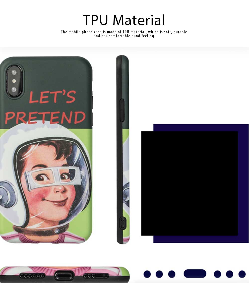 Mobile Phone Case All-inclusive Protection Soft Case French Retro Astronaut for iPhone XS, iPhone MAX, 8, 8 Plus, 7, 7 Plus 1