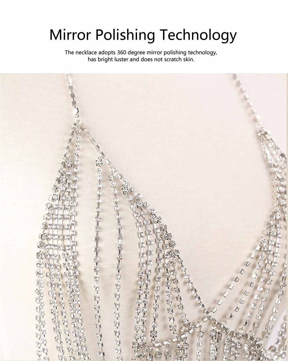Necklace for Women Fashionable Exaggerated Beach Style Tassels Diamond Multilayer Body Chest Chain 3