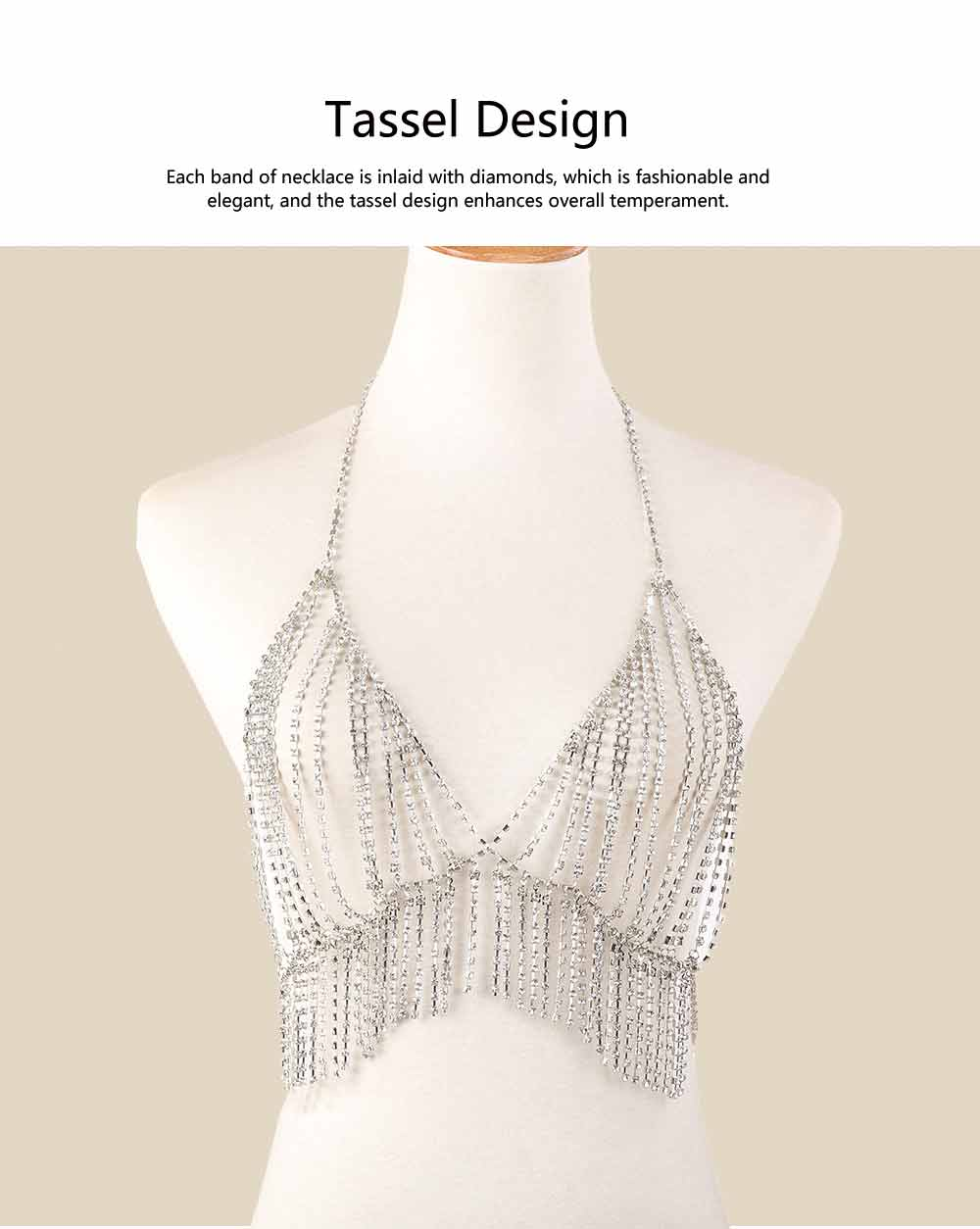Necklace for Women Fashionable Exaggerated Beach Style Tassels Diamond Multilayer Body Chest Chain 2