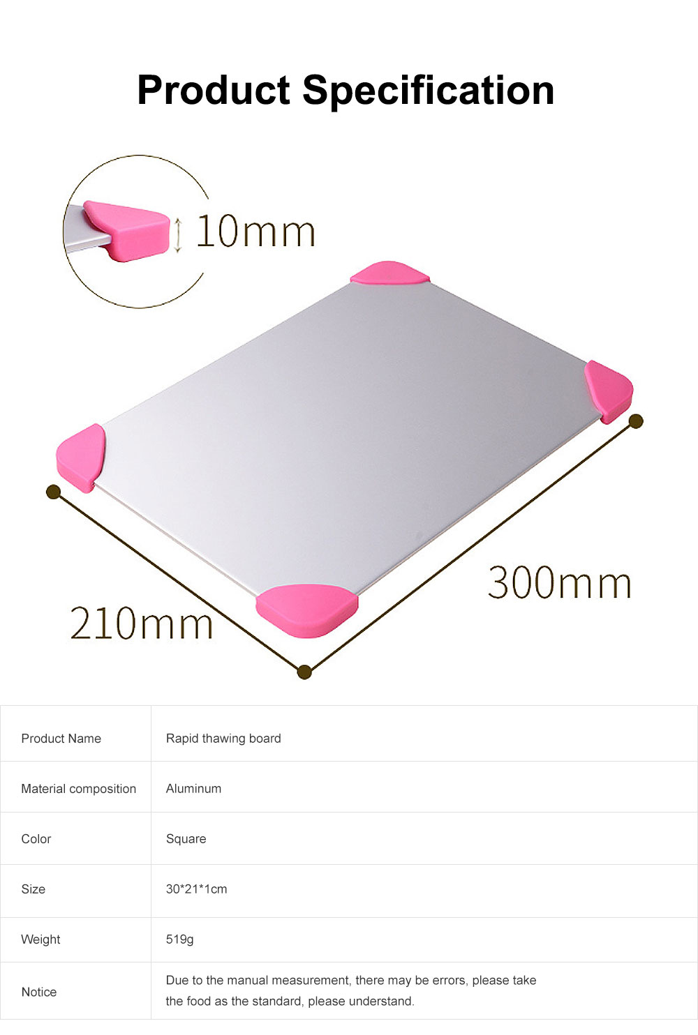 Rapid Lightning Thawing Board, Creative Quick Physical Defrost of Household Kitchen Supplies, Non-skid Thawing Plate 7