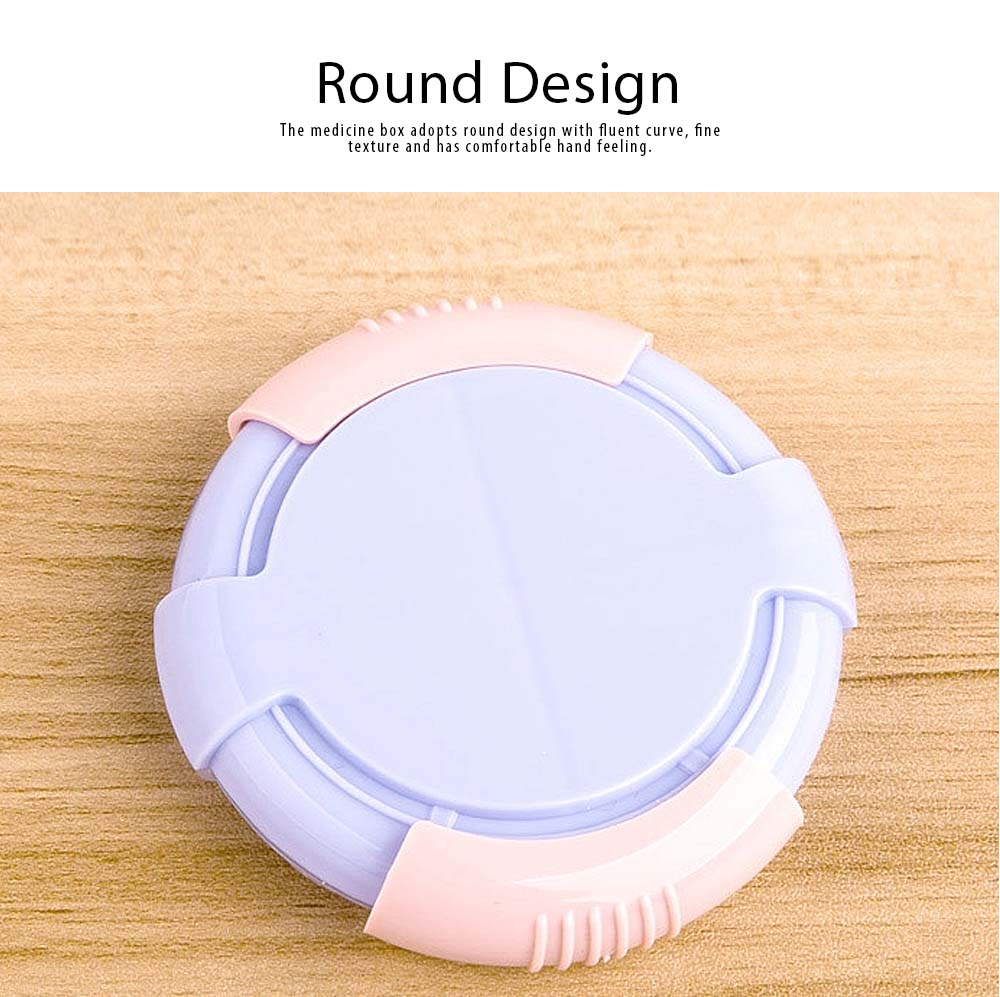 4 Compartments Mini Medicine Box Plastic Round Rotary Pill Box for Old People Children Portable Tablet Organizer Container 2