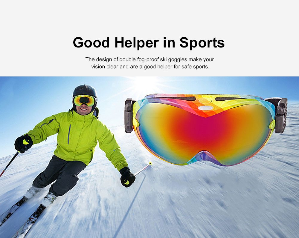 Unisex Fashion Snow-proof Skiing Goggies Double Lens Anti-fog Spherical Glasses for Men & Women Eye-Protected Glasses 1