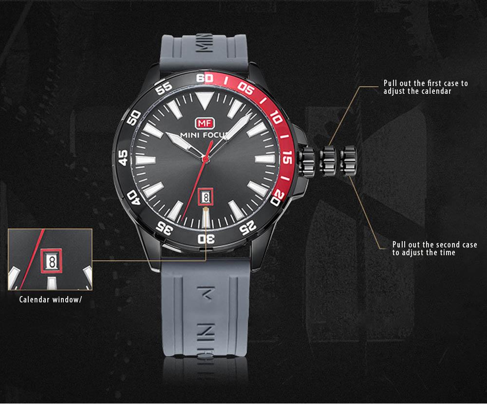 Sports Watch for Men Japanese Movement Waterproof Luminous Silicone Watchband 0020G Quartz Watch 6