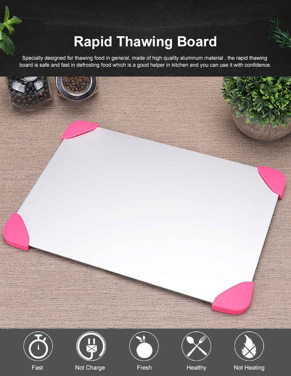 Rapid Lightning Thawing Board, Creative Quick Physical Defrost of Household Kitchen Supplies, Non-skid Thawing Plate 0