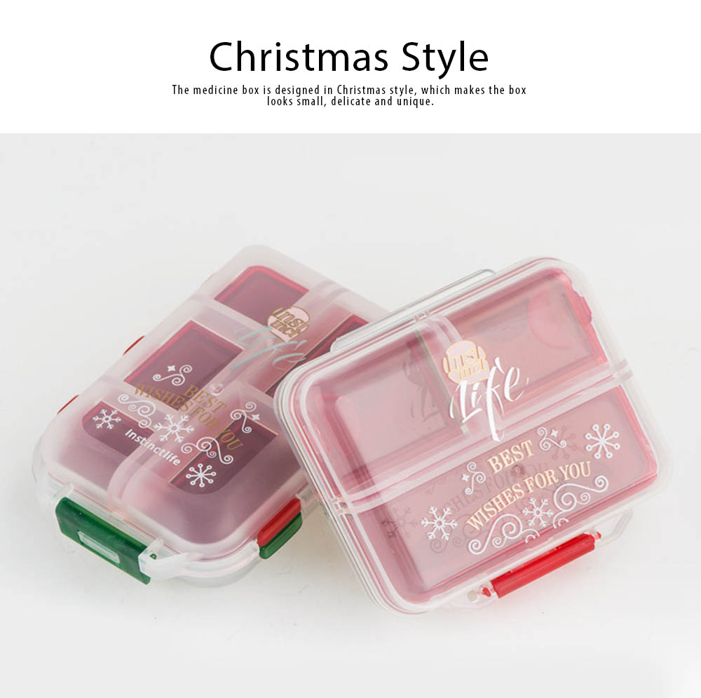 Pp Portable Pill Case For 7 Day Use, 7 Compartments Mini Medicine Box Christmas Style Travel Outdoor Pill Keeper 5