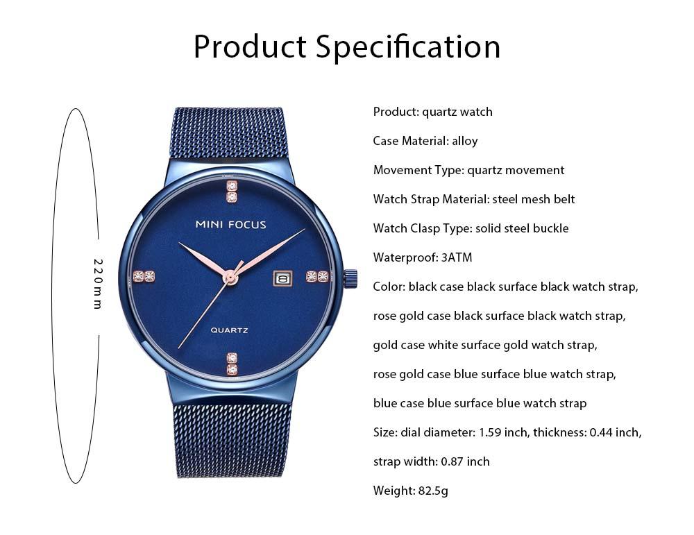 Fashionable Watch for Men Japanese Movement Waterproof Calendar Metal Watch Strap Classic Watch 7