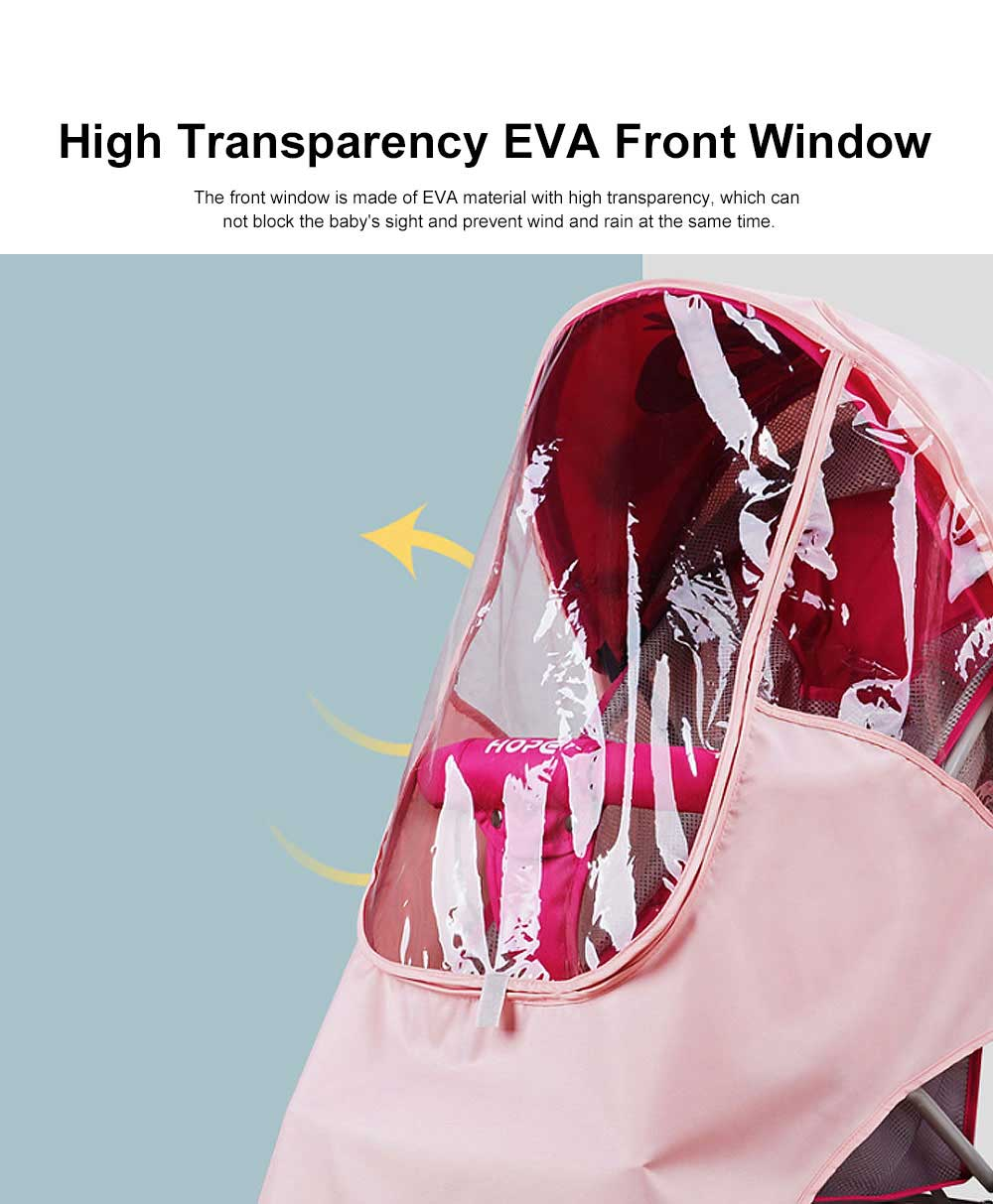 Universal Baby Stroller Rain Cover, Baby Carriage Transparent Raincoat, Umbrella Car Breathable & Heat Shield Cover for Anti Rain & Wind 2
