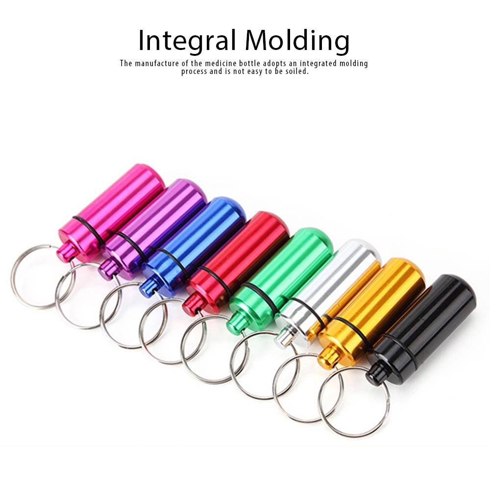 Mini Medicine Bottle Aluminium Alloy Portable Outdoor Waterproof Durable Pill Box Key Ring First Aid Pill Bottle 4