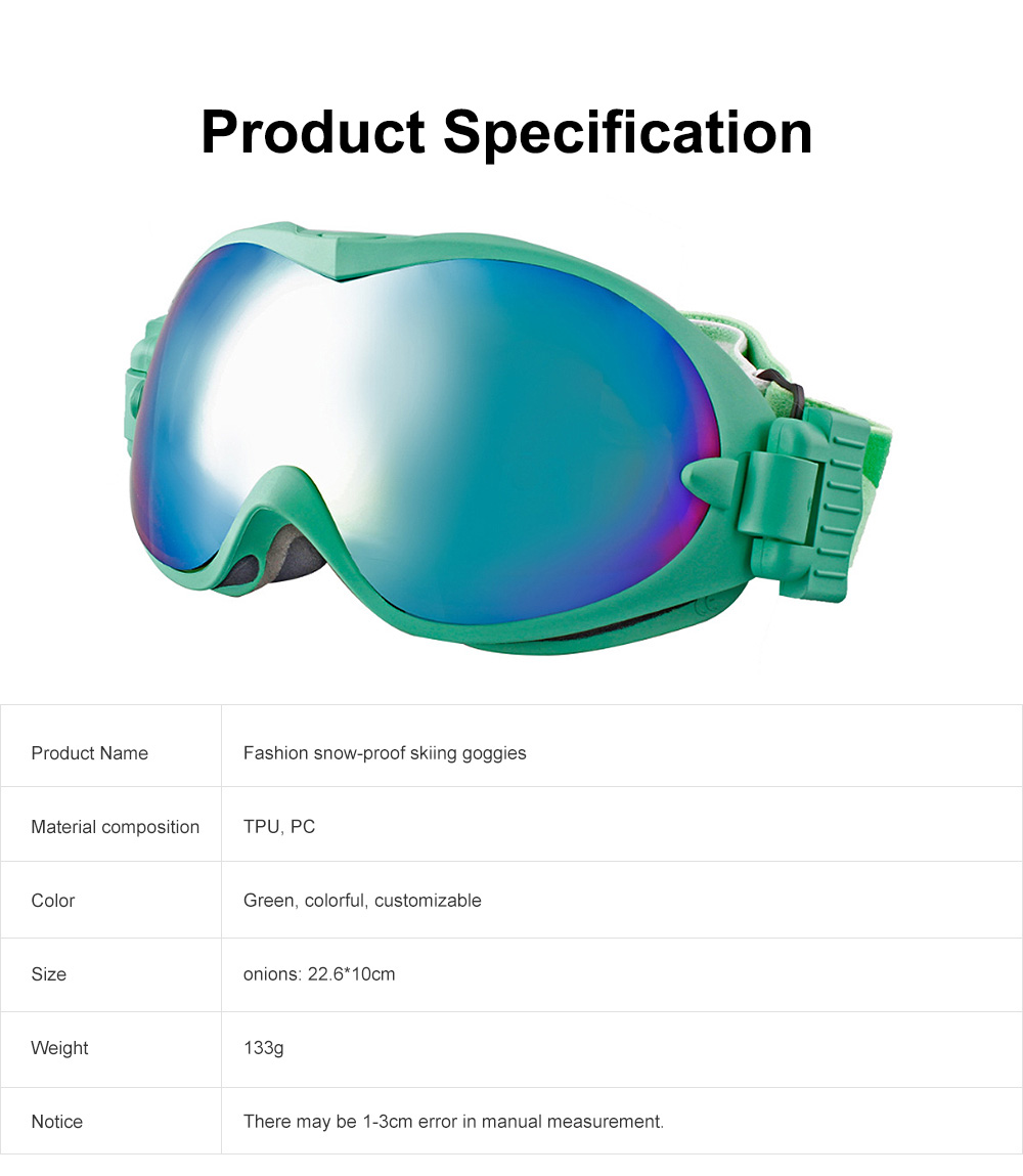 Unisex Fashion Snow-proof Skiing Goggies Double Lens Anti-fog Spherical Glasses for Men & Women Eye-Protected Glasses 6