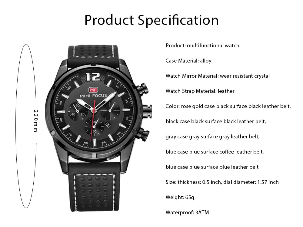 Watch for Men Japanese Movement Leather Strap Calendar Luminous Waterproof 0005G Quartz Watch 7