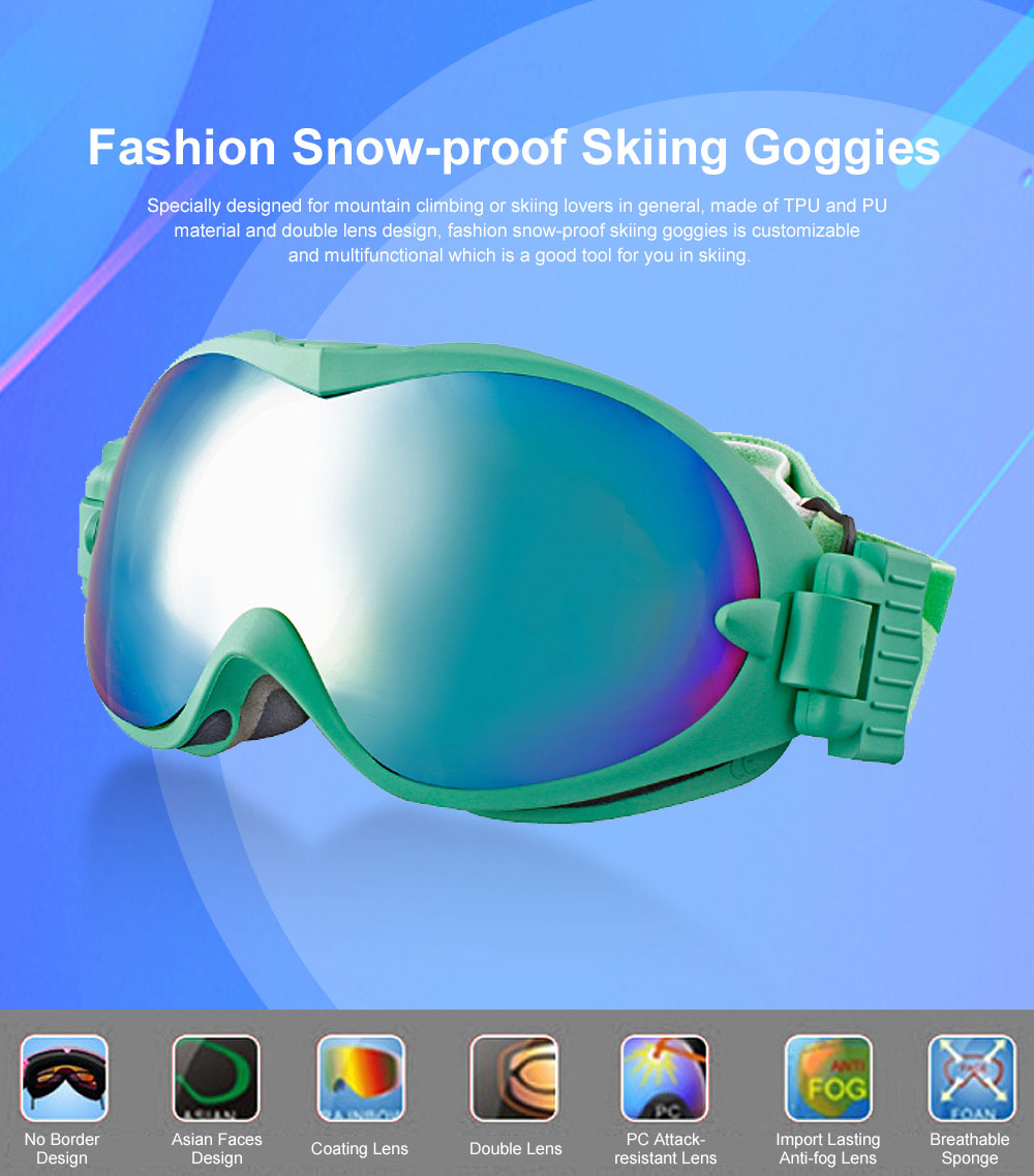 Unisex Fashion Snow-proof Skiing Goggies Double Lens Anti-fog Spherical Glasses for Men & Women Eye-Protected Glasses 0