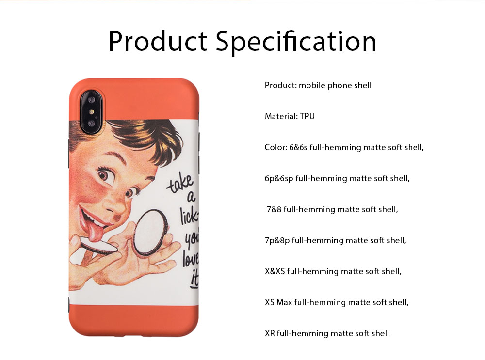 Mobile Phone Case Original Full-hemming Protection Retro Style Soft Mobile Phone Shell for iPhone xs max & 6 & 7 & 8 & 7 plus & 8 plus 6