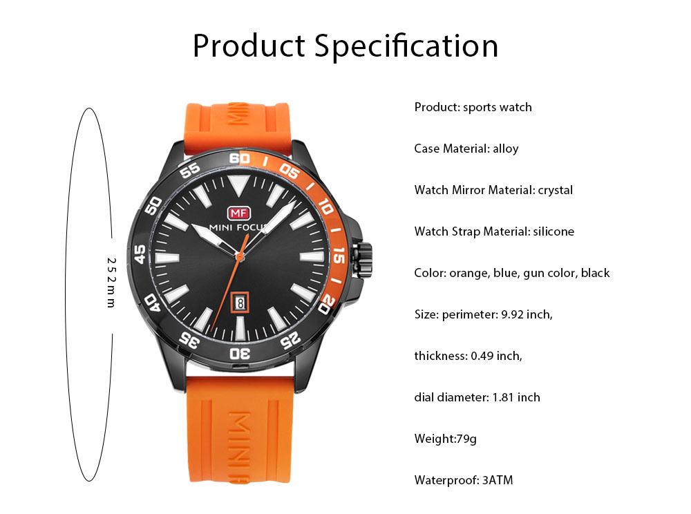 Sports Watch for Men Japanese Movement Waterproof Luminous Silicone Watchband 0020G Quartz Watch 7