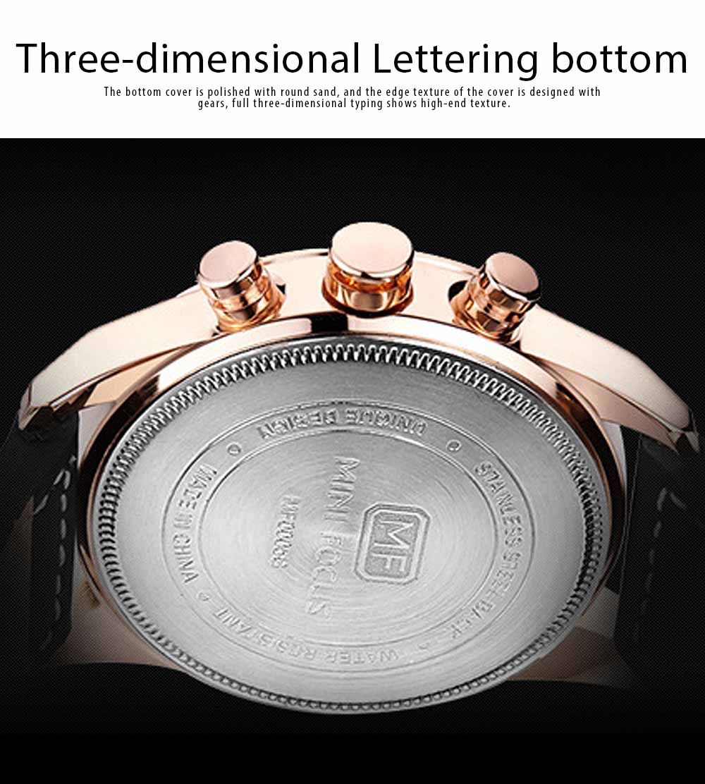 Watch for Men Japanese Movement Leather Strap Calendar Luminous Waterproof 0005G Quartz Watch 3