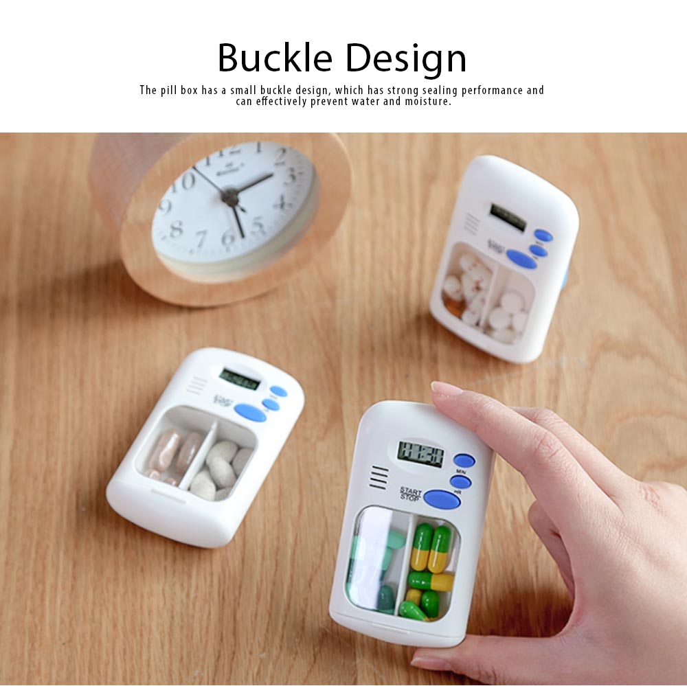 Intelligent Electronic Medicine Box Abs & PP Pill Box Alarm Clock Reminder Compartments Box Tablet Portable Pill Carrier 3