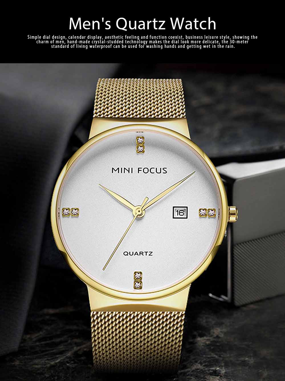 Fashionable Watch for Men Japanese Movement Waterproof Calendar Metal Watch Strap Classic Watch 0