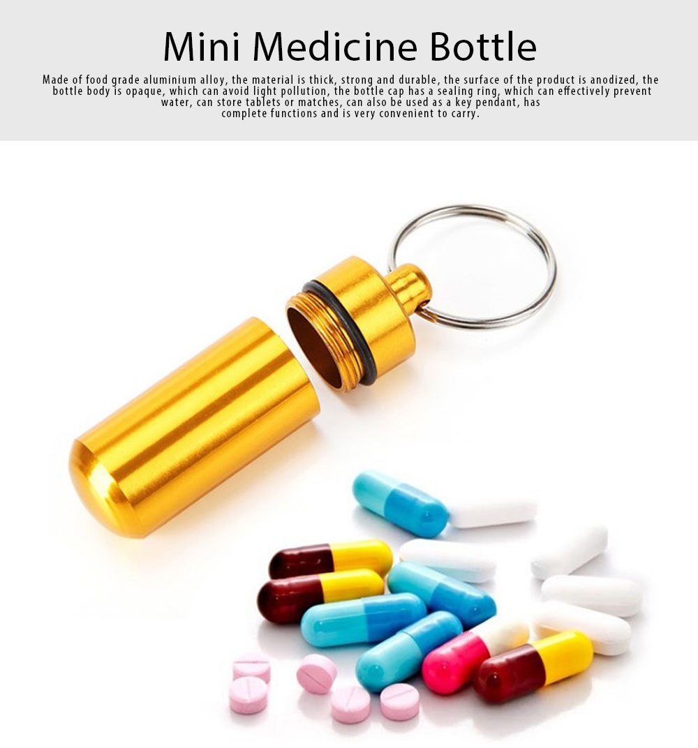 Mini Medicine Bottle Aluminium Alloy Portable Outdoor Waterproof Durable Pill Box Key Ring First Aid Pill Bottle 0
