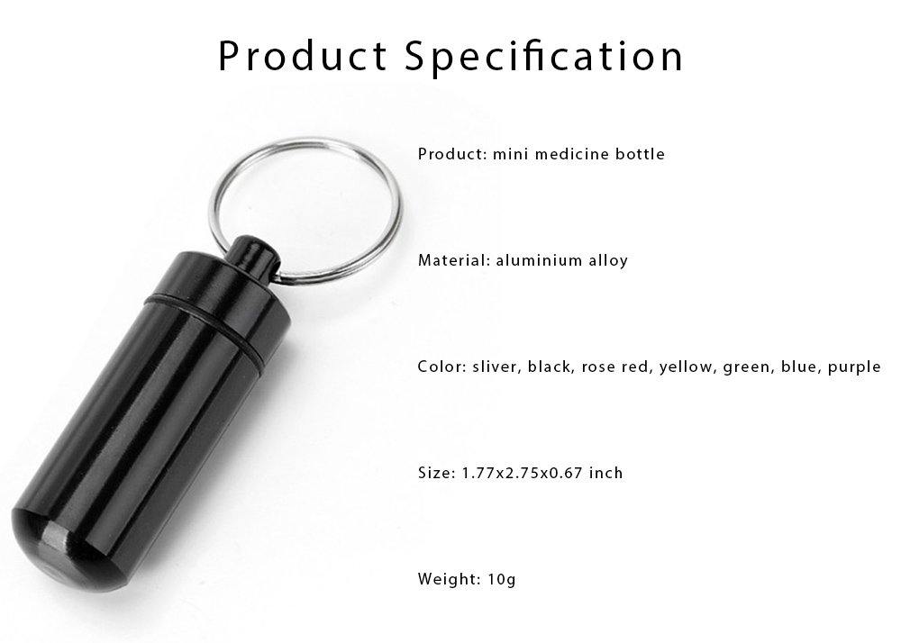 Mini Medicine Bottle Aluminium Alloy Portable Outdoor Waterproof Durable Pill Box Key Ring First Aid Pill Bottle 6