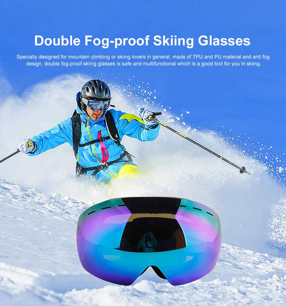 Large Sphere Double Fog-proof Skiing Glasses, Wearing with Myopic Lens Skiing Equipment 0