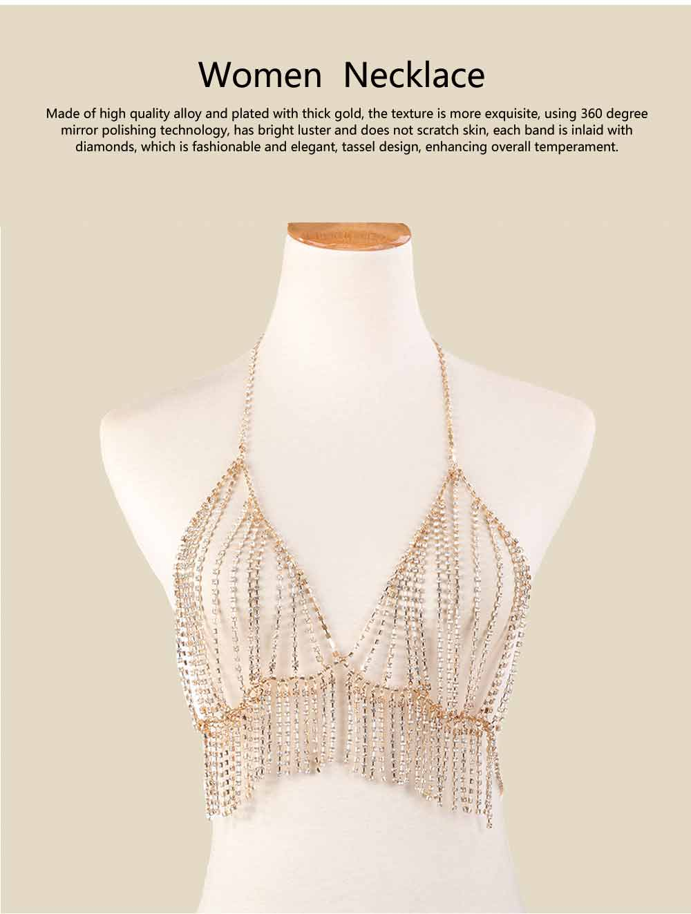 Necklace for Women Fashionable Exaggerated Beach Style Tassels Diamond Multilayer Body Chest Chain 0