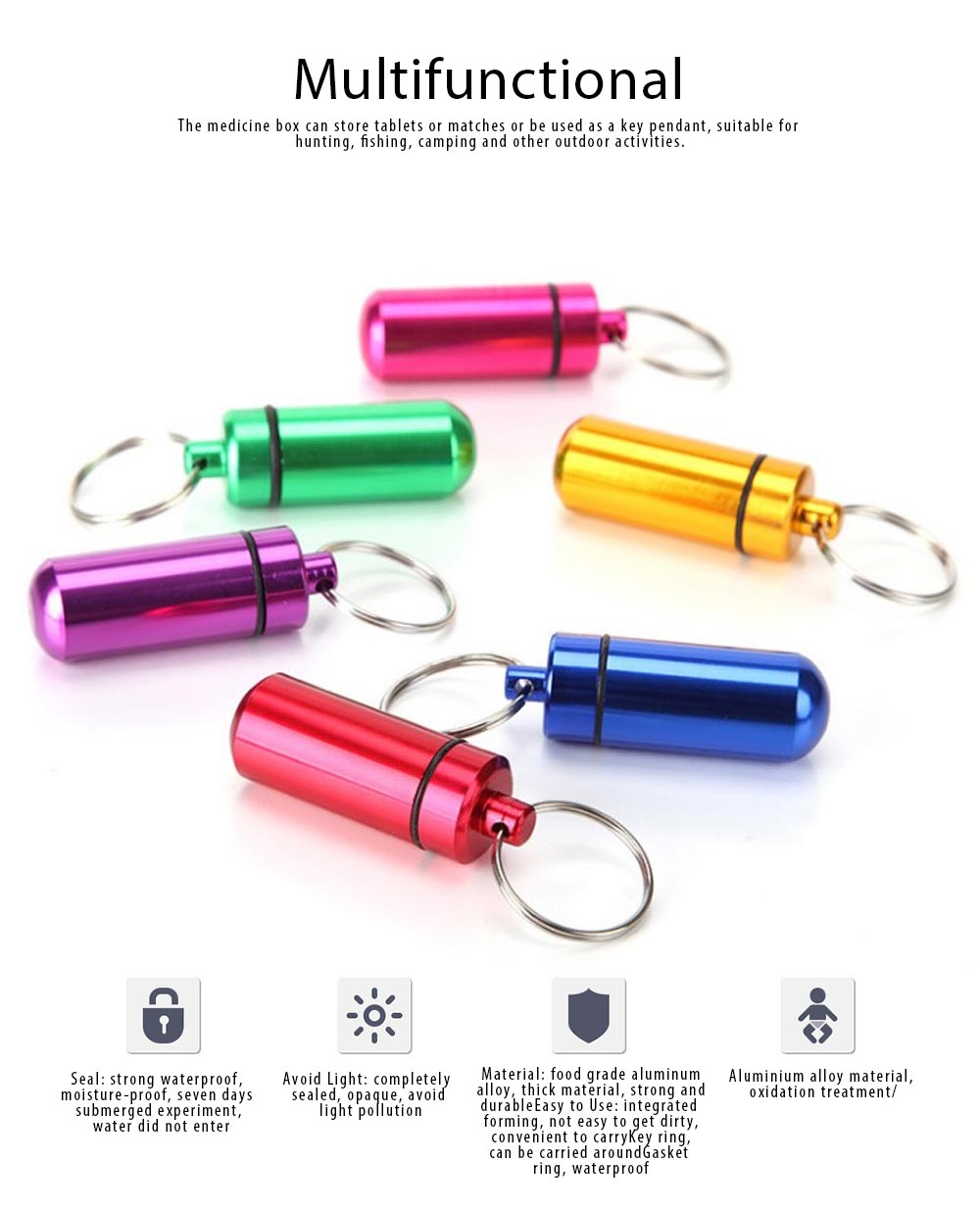 Mini Medicine Bottle Aluminium Alloy Portable Outdoor Waterproof Durable Pill Box Key Ring First Aid Pill Bottle 5