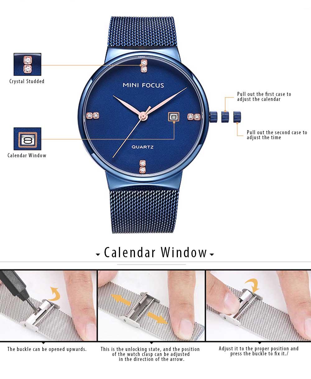 Fashionable Watch for Men Japanese Movement Waterproof Calendar Metal Watch Strap Classic Watch 6
