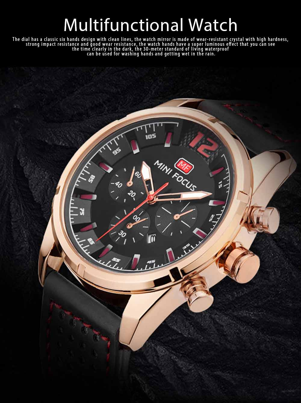 Watch for Men Japanese Movement Leather Strap Calendar Luminous Waterproof 0005G Quartz Watch 0