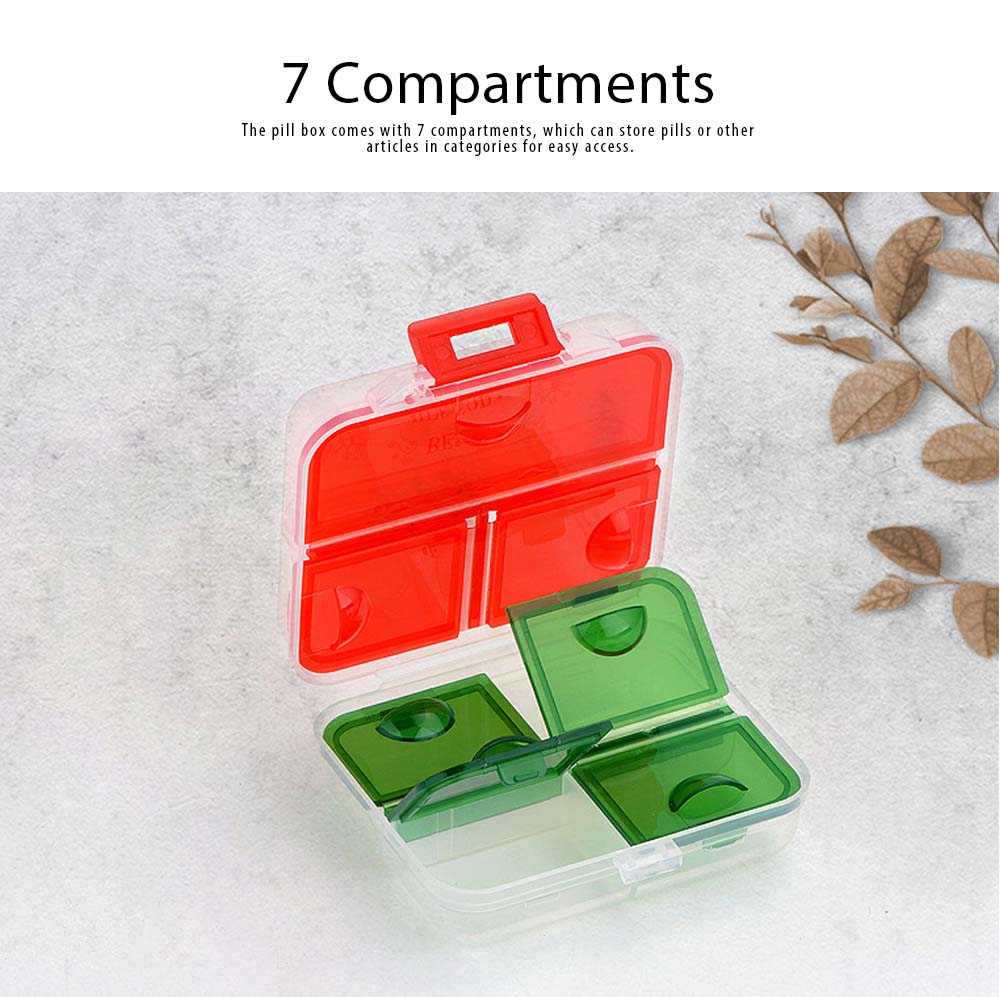 Pp Portable Pill Case For 7 Day Use, 7 Compartments Mini Medicine Box Christmas Style Travel Outdoor Pill Keeper 2