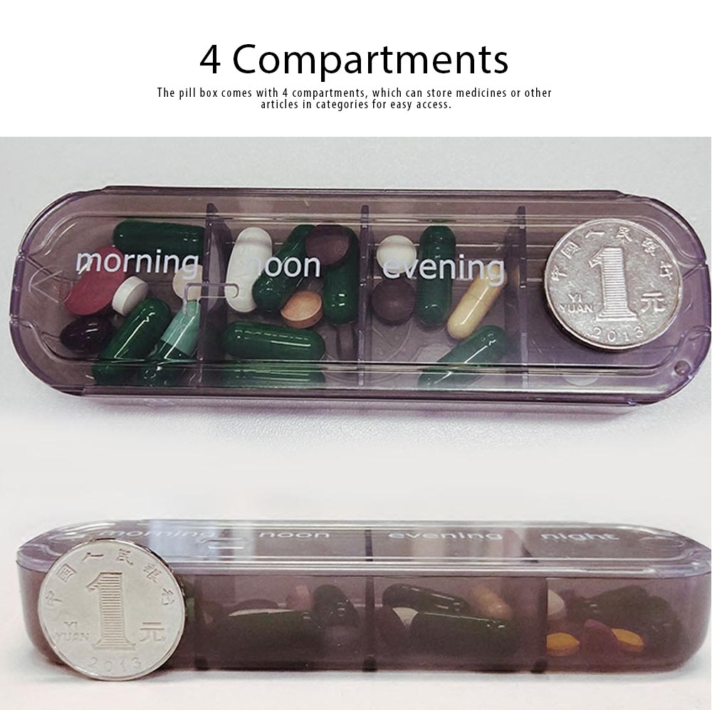 Food Grade ABS Pilbox Portable Business Pill Box 4 Compartments Organizer Imports From France Medicine Case 2