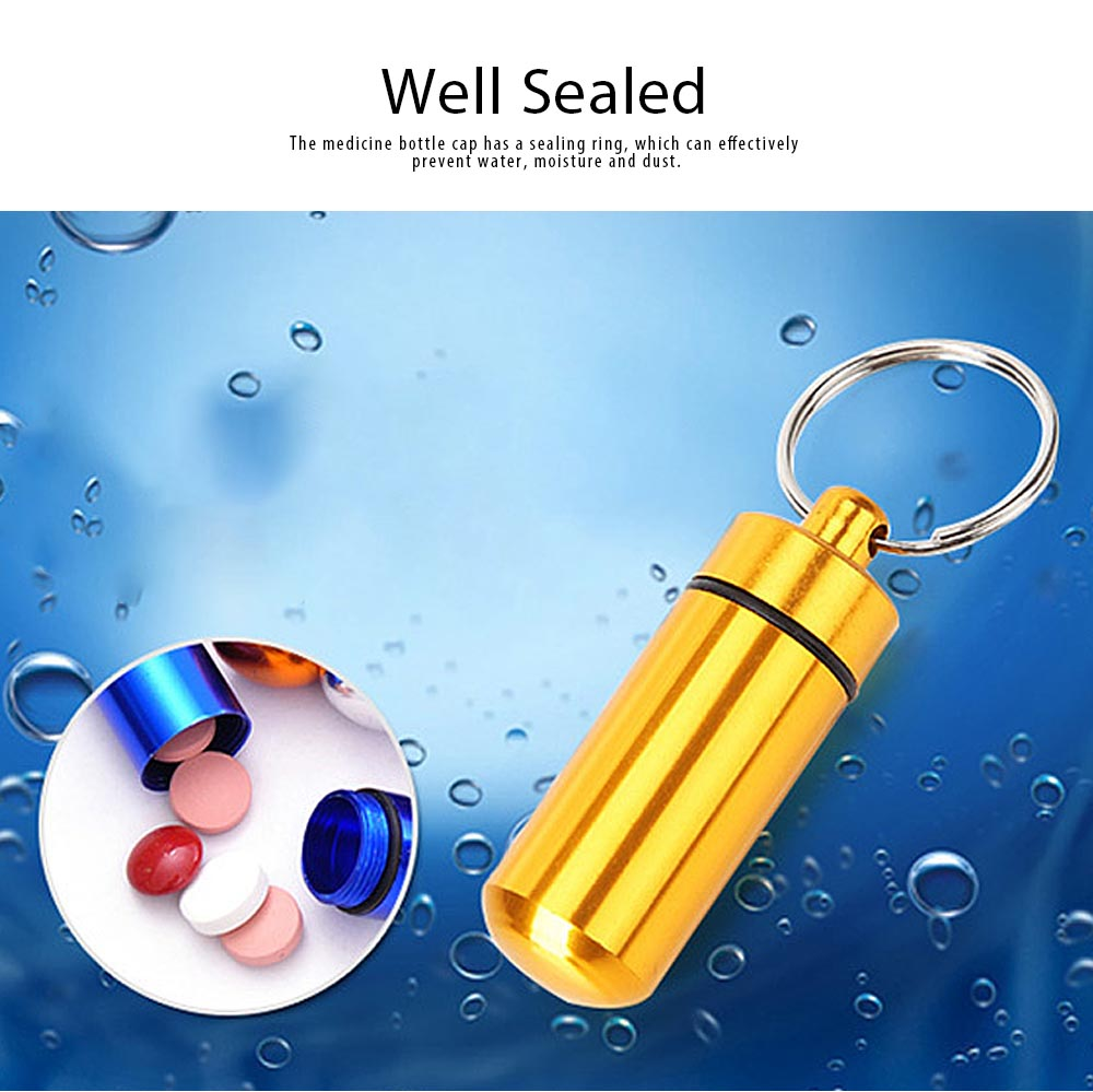 Mini Medicine Bottle Aluminium Alloy Portable Outdoor Waterproof Durable Pill Box Key Ring First Aid Pill Bottle 3