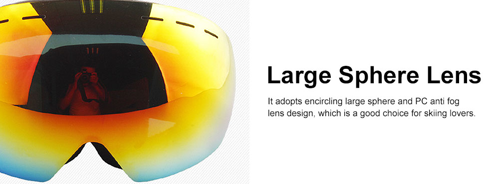 Large Sphere Double Fog-proof Skiing Glasses, Wearing with Myopic Lens Skiing Equipment 2