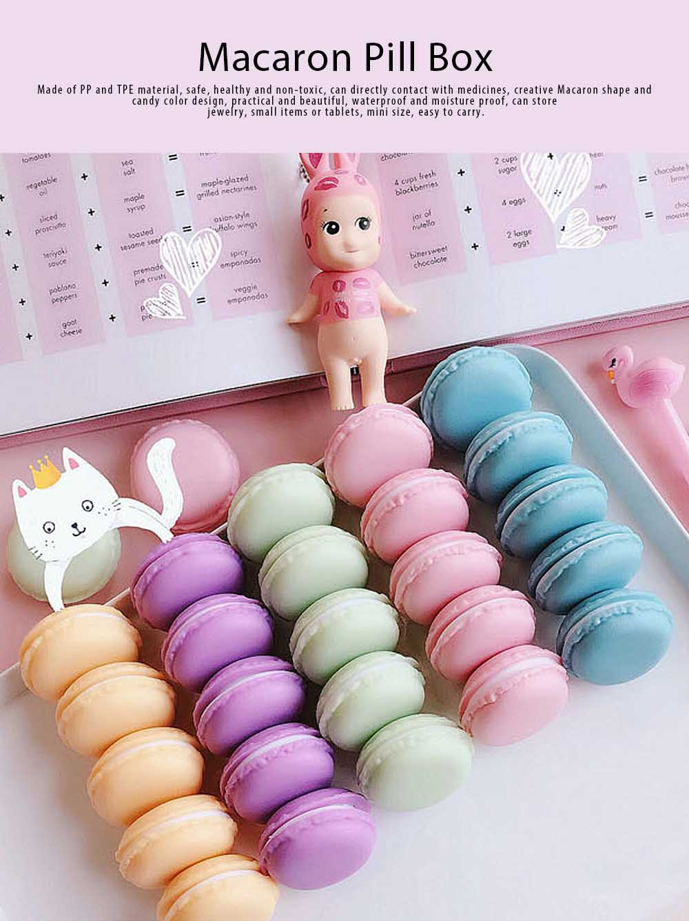 Macaron Medicine Box PP Portable Candy Color Pill Jewelry Organizer Creativity Cute Outdoor Pill Box Tablets Container 0