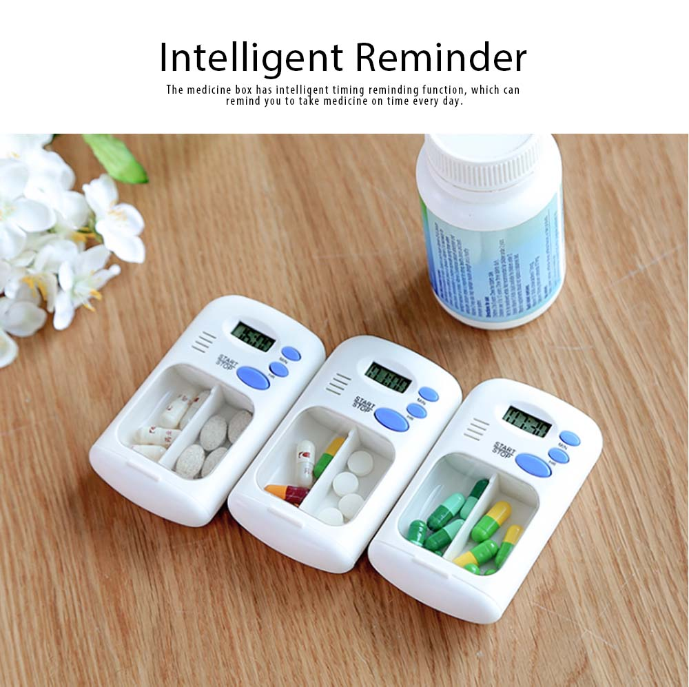 Intelligent Electronic Medicine Box Abs & PP Pill Box Alarm Clock Reminder Compartments Box Tablet Portable Pill Carrier 2