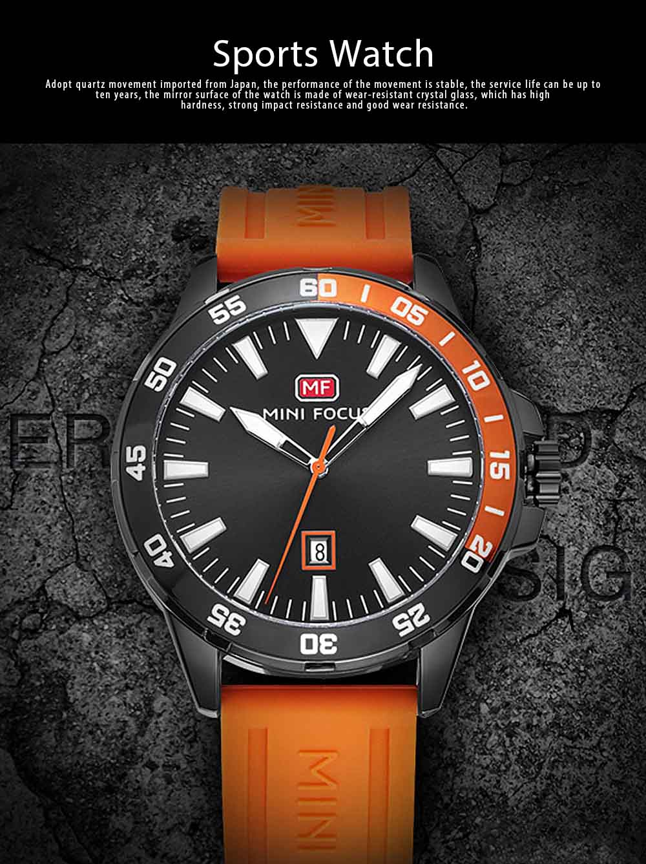 Sports Watch for Men Japanese Movement Waterproof Luminous Silicone Watchband 0020G Quartz Watch 0
