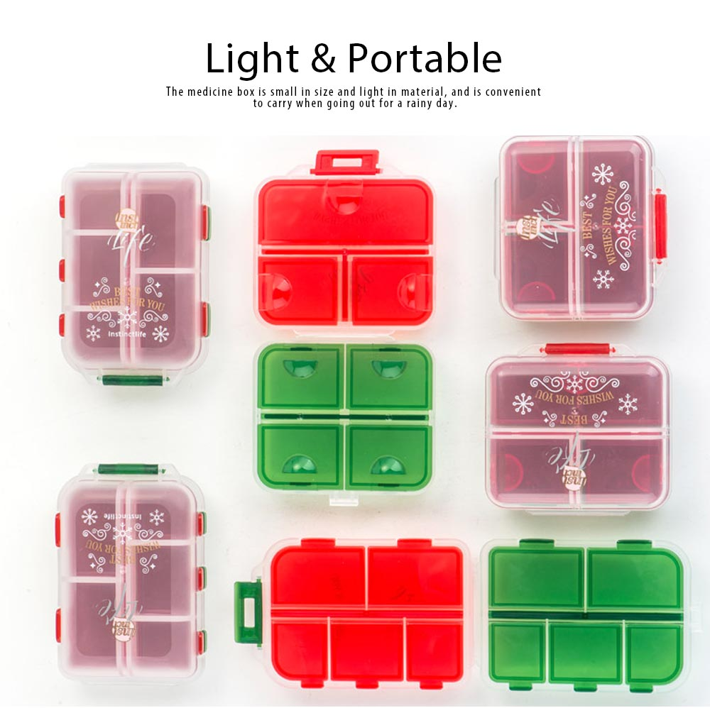 Pp Portable Pill Case For 7 Day Use, 7 Compartments Mini Medicine Box Christmas Style Travel Outdoor Pill Keeper 4