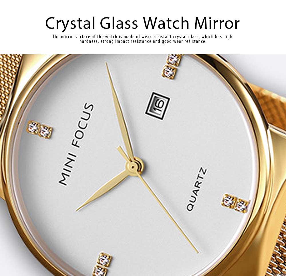 Fashionable Watch for Men Japanese Movement Waterproof Calendar Metal Watch Strap Classic Watch 5