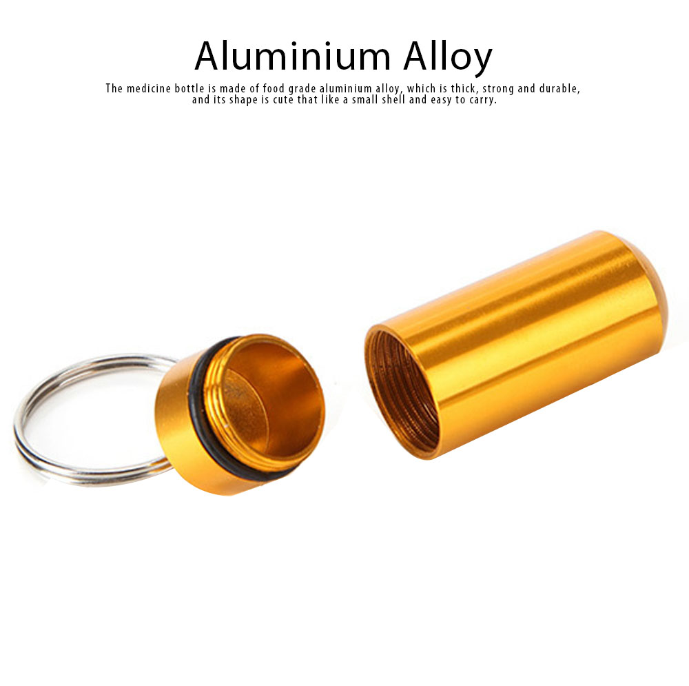 Mini Medicine Bottle Aluminium Alloy Portable Outdoor Waterproof Durable Pill Box Key Ring First Aid Pill Bottle 1