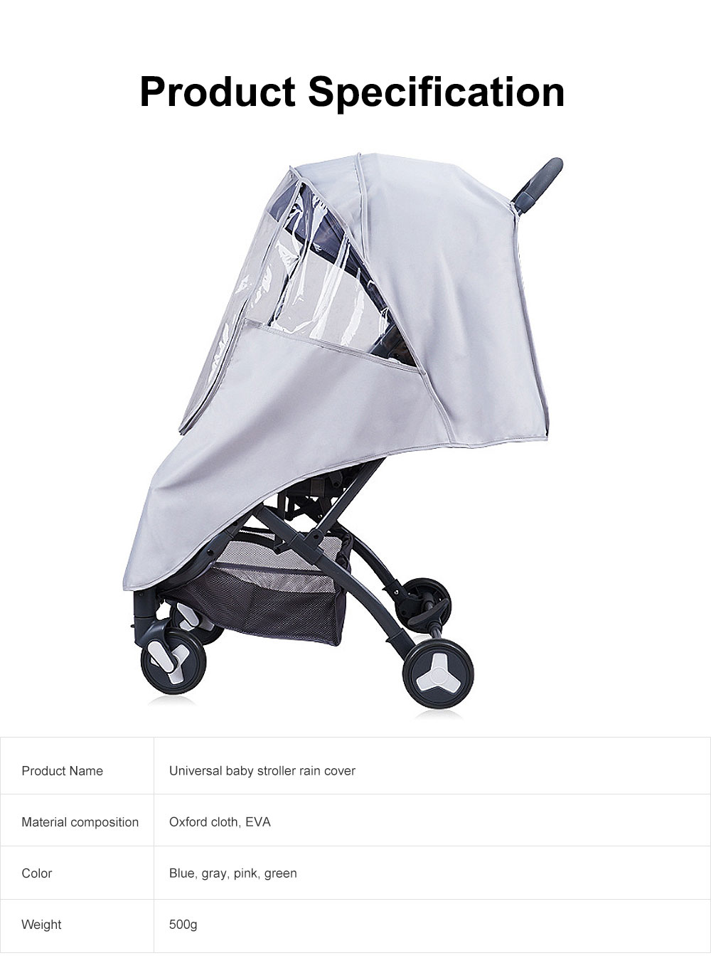 Universal Baby Stroller Rain Cover, Baby Carriage Transparent Raincoat, Umbrella Car Breathable & Heat Shield Cover for Anti Rain & Wind 7