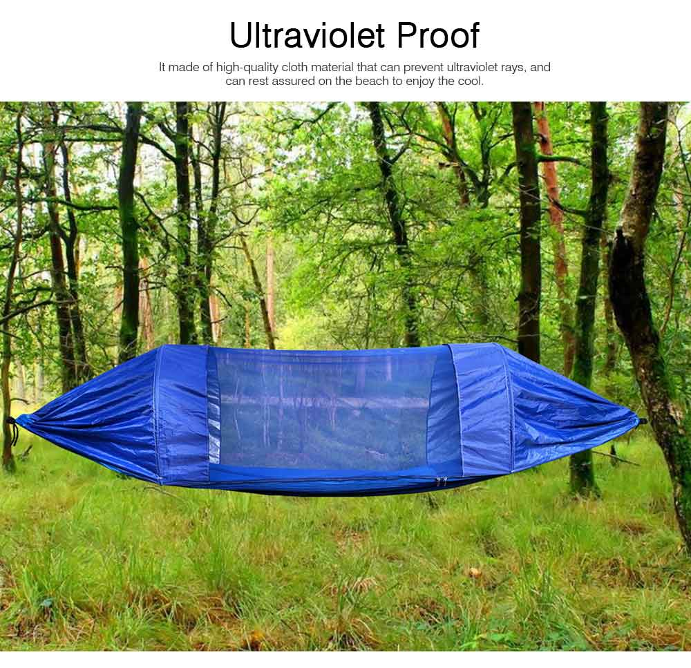 Outdoor Camping Hammock Nylon Material Enclose Style Parachute Cloth Anti-Mosquito Bed Net Ultraviolet-proof High-bearing for Two Peoples Hammock 2