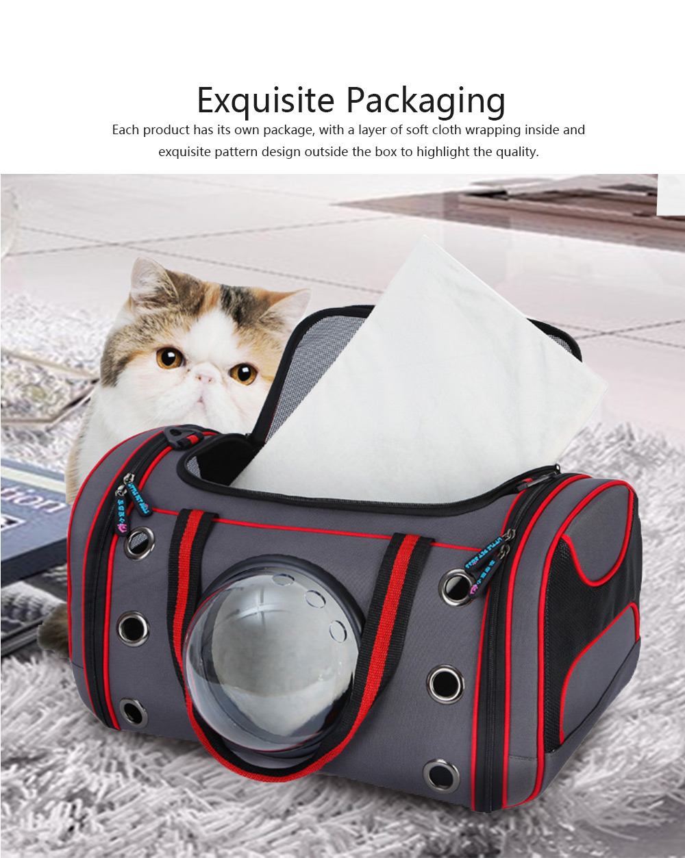 Space Pet Bag Portable One Shoulder Messenger Breathable Backpack Carrier for Pet Dog Cat Transparent Puppy Travel Cage 5