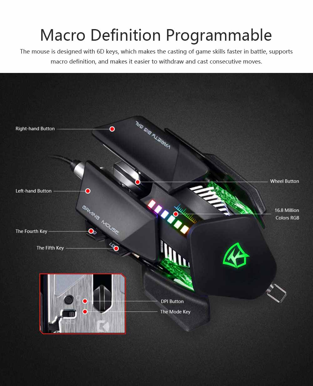 Gaming USB Wired Mechanical Mouse for Macro-program Internet Bar Computer E-sports LOL Gaming Mouse 4