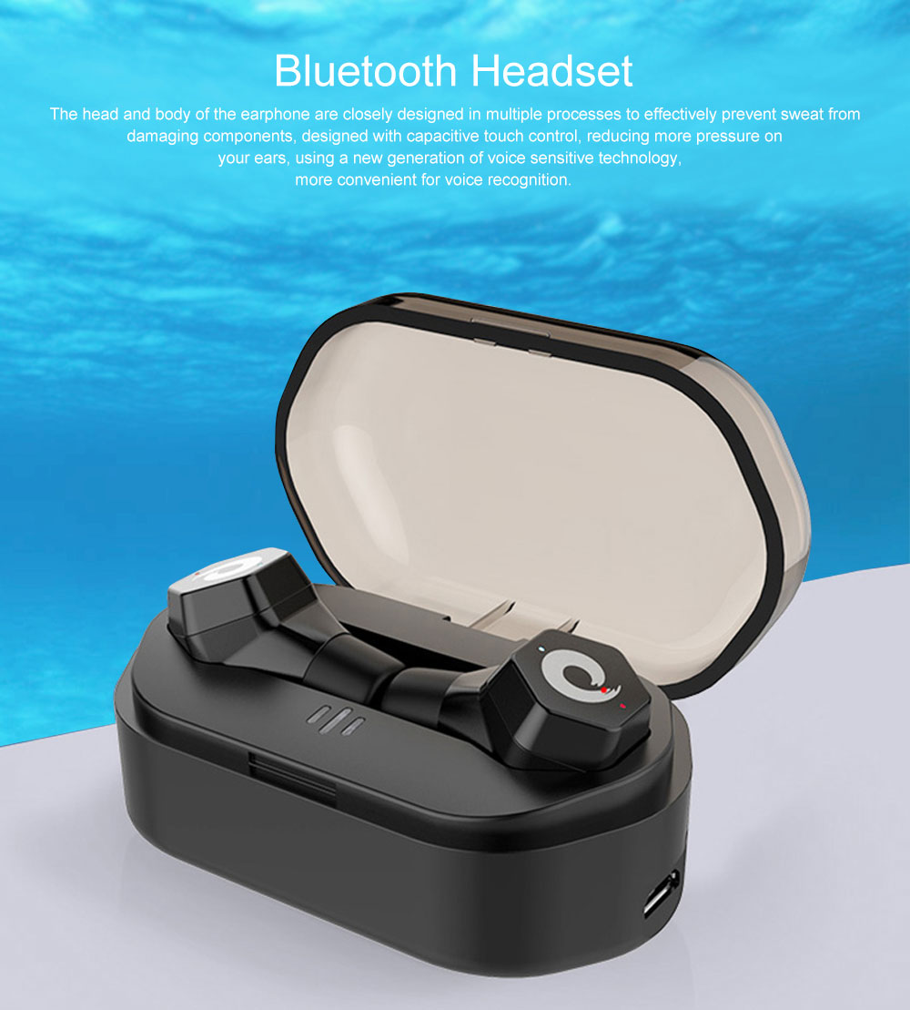 Langston F8 Mini Bluetooth Earphone In-ear Wireless Earphone Universal Waterproof for Apple VIVO OPPO HUAWEI Invisible Ear Hanging Type Earphone 0